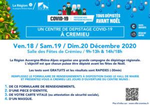Dépistage pour les fêtes: c'est également possible à Crémieu