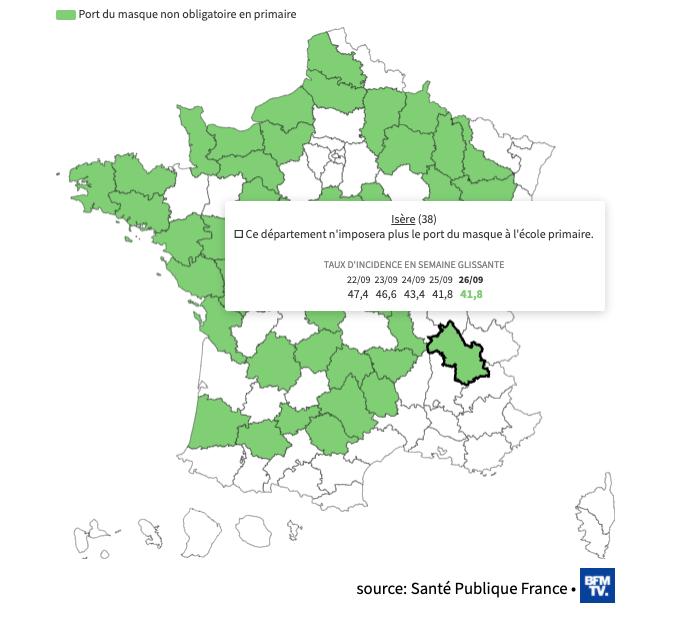 You are currently viewing Isère : Le port du masque à l'école primaire ne sera plus obligatoire à partir de lundi.